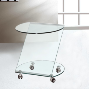 mesa ruedas cristal glass