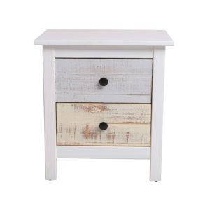 Mesita de madera en blanco con cajones de madera natural en diferentes colores